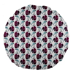 Flamingo Leaf Patttern Blue Large 18  Premium Flano Round Cushions by snowwhitegirl
