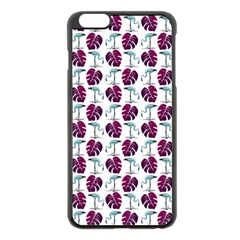 Flamingo Leaf Patttern Blue Apple Iphone 6 Plus/6s Plus Black Enamel Case by snowwhitegirl