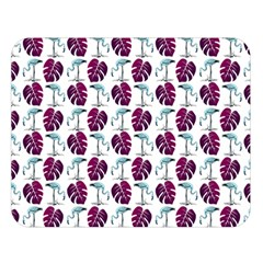 Flamingo Leaf Patttern Blue Double Sided Flano Blanket (large)  by snowwhitegirl