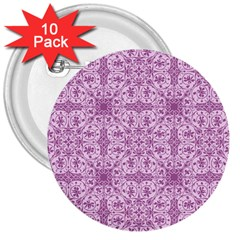 Ornamental Pink 3  Buttons (10 Pack)