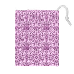 Ornamental Pink Drawstring Pouch (xl) by snowwhitegirl
