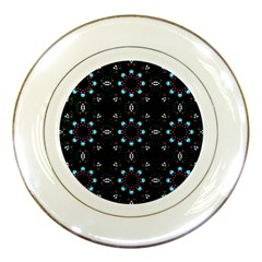 Embroidery Paisley Black Porcelain Plates