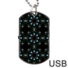 Embroidery Paisley Black Dog Tag Usb Flash (two Sides) by snowwhitegirl