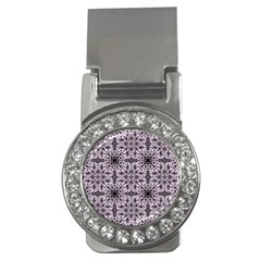 Ornamental Pink Black Money Clips (cz)  by snowwhitegirl