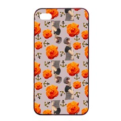 Girl With Roses And Anchors Apple Iphone 4/4s Seamless Case (black)