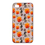 Girl With Roses And Anchors Apple iPhone 4/4s Seamless Case (Black) Front