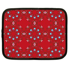 Embroidery Paisley Red Netbook Case (large) by snowwhitegirl
