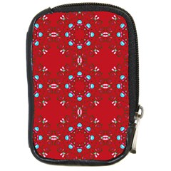 Embroidery Paisley Red Compact Camera Leather Case by snowwhitegirl