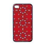 Embroidery Paisley Red Apple iPhone 4 Case (Black) Front