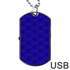 Victorian Paisley Royal Blue Pattern Dog Tag Usb Flash (two Sides) by snowwhitegirl