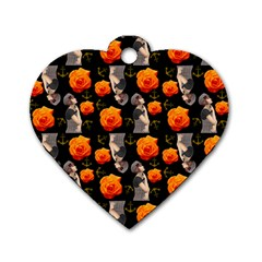 Girl With Roses And Anchors Black Dog Tag Heart (two Sides) by snowwhitegirl