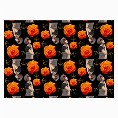 Girl With Roses And Anchors Black Large Glasses Cloth (2 Side) by snowwhitegirl