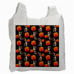 Girl With Roses And Anchors Black Recycle Bag (one Side) by snowwhitegirl