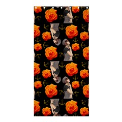 Girl With Roses And Anchors Black Shower Curtain 36  X 72  (stall)  by snowwhitegirl