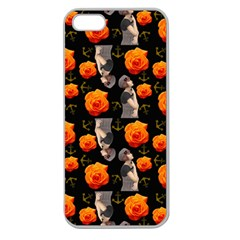 Girl With Roses And Anchors Black Apple Seamless Iphone 5 Case (clear) by snowwhitegirl