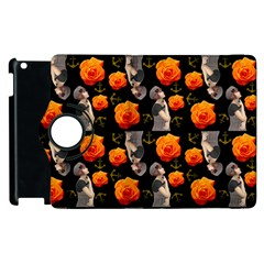 Girl With Roses And Anchors Black Apple Ipad 2 Flip 360 Case by snowwhitegirl