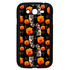 Girl With Roses And Anchors Black Samsung Galaxy Grand Duos I9082 Case (black) by snowwhitegirl