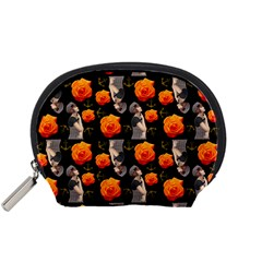 Girl With Roses And Anchors Black Accessory Pouch (small) by snowwhitegirl