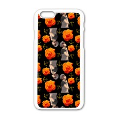 Girl With Roses And Anchors Black Apple Iphone 6/6s White Enamel Case by snowwhitegirl