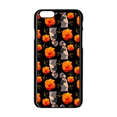 Girl With Roses And Anchors Black Apple Iphone 6/6s Black Enamel Case by snowwhitegirl