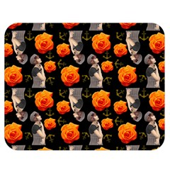 Girl With Roses And Anchors Black Double Sided Flano Blanket (medium)  by snowwhitegirl