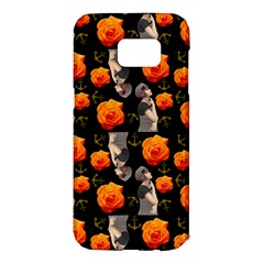 Girl With Roses And Anchors Black Samsung Galaxy S7 Edge Hardshell Case by snowwhitegirl