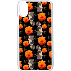 Girl With Roses And Anchors Black Apple Iphone X Seamless Case (white)