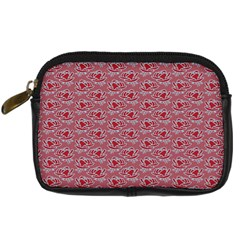 Retro Red Pattern Digital Camera Leather Case by snowwhitegirl