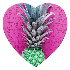 Green Pineapple Jigsaw Puzzle (heart) by snowwhitegirl