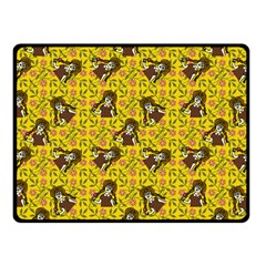 Girl With Popsicle Yellow Floral Fleece Blanket (small) by snowwhitegirl