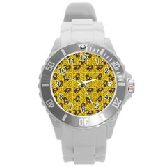 Girl With Popsicle Yellow Floral Round Plastic Sport Watch (l) by snowwhitegirl