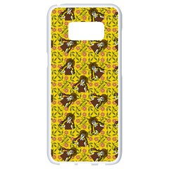 Girl With Popsicle Yellow Floral Samsung Galaxy S8 White Seamless Case by snowwhitegirl
