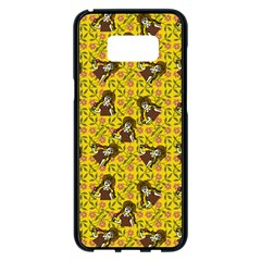 Girl With Popsicle Yellow Floral Samsung Galaxy S8 Plus Black Seamless Case by snowwhitegirl