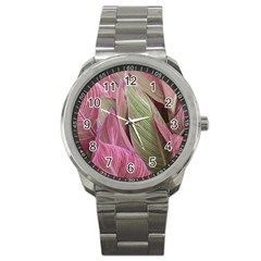 Pink Leaves Sport Metal Watch by snowwhitegirl