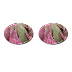 Pink Leaves Cufflinks (oval) by snowwhitegirl