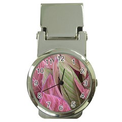 Pink Leaves Money Clip Watches by snowwhitegirl
