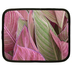 Pink Leaves Netbook Case (xxl) by snowwhitegirl