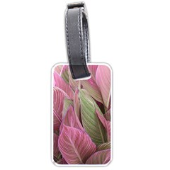Pink Leaves Luggage Tags (one Side)  by snowwhitegirl