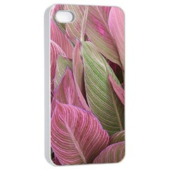Pink Leaves Apple Iphone 4/4s Seamless Case (white) by snowwhitegirl