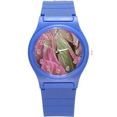 Pink Leaves Round Plastic Sport Watch (s) by snowwhitegirl