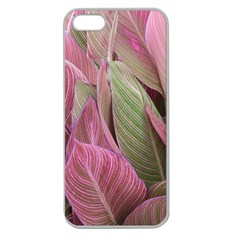 Pink Leaves Apple Seamless Iphone 5 Case (clear) by snowwhitegirl
