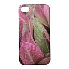 Pink Leaves Apple Iphone 4/4s Hardshell Case With Stand by snowwhitegirl