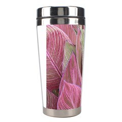 Pink Leaves Stainless Steel Travel Tumblers by snowwhitegirl