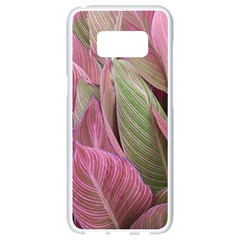 Pink Leaves Samsung Galaxy S8 White Seamless Case by snowwhitegirl