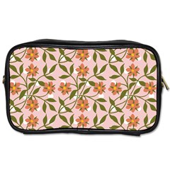 Pink Dot Floral Toiletries Bag (two Sides) by snowwhitegirl
