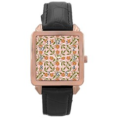 Pink Dot Floral Rose Gold Leather Watch