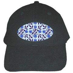 Blue Dot Floral Black Cap by snowwhitegirl