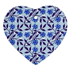 Blue Dot Floral Heart Ornament (two Sides) by snowwhitegirl