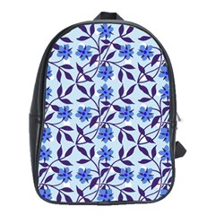 Blue Dot Floral School Bag (xl) by snowwhitegirl