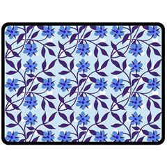 Blue Dot Floral Double Sided Fleece Blanket (large)  by snowwhitegirl